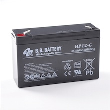 6V 12Ah Battery, Sealed Lead Acid battery (AGM), B.B. Battery BP12-6, VdS, 151x50x94 mm (LxWxH), Terminal T2 Faston 250 (6,3 mm)