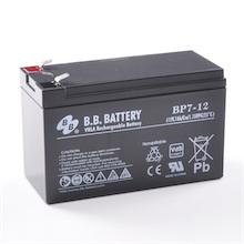 12V 7Ah Battery, Sealed Lead Acid battery (AGM), B.B. Battery BP7-12, VdS, 151x65x93 mm (LxWxH), Terminal T2 Faston 250 (6,3 mm)