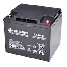 12V 50Ah Battery, Sealed Lead Acid battery (AGM), B.B. Battery EB50-12, 197x165x171 mm (LxWxH), Terminal I2 (Insert M6)