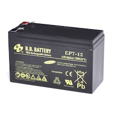 12V 7Ah Battery, Sealed Lead Acid battery (AGM), B.B. Battery EP7-12, 151x65x93 mm (LxWxH), Terminal T2 Faston 250 (6,3 mm)
