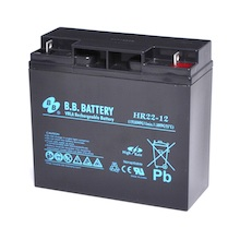 12V 22Ah battery, Sealed Lead Acid battery (AGM), B.B. Battery HR22-12, 181x76x166 mm (LxWxH), Terminal B1 (Fitting M5 bolt and nut)