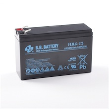 12V 6Ah battery, Sealed Lead Acid battery (AGM), B.B. Battery HR6-12, 151x51x94 mm (LxWxH), Terminal T2 Faston 250 (6,3 mm)