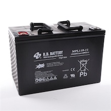 12V 110Ah Battery, Sealed Lead Acid battery (AGM), B.B. Battery MPL110-12 H, 330x173x212 mm (LxWxH), Terminal I2 (Insert M6)