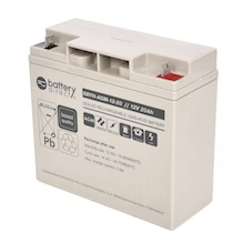 12V 20Ah Battery, Sealed Lead Acid battery (AGM), battery-direct SBYH-AGM-12-20, 181x77x167 mm (LxWxH), Terminal B1 (Fitting M5 bolt and nut)