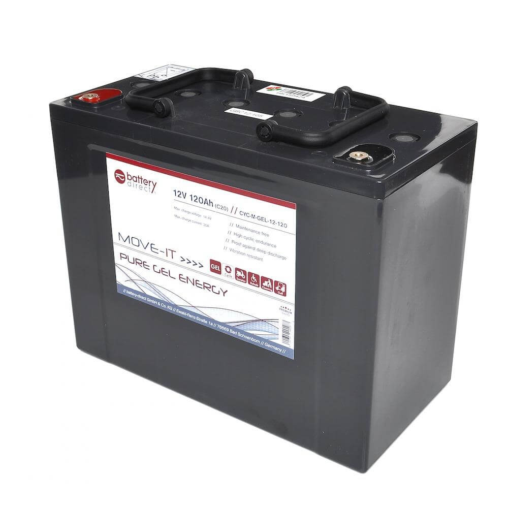 12v 120ah gel lead acid battery by battery direct cyc m. Black Bedroom Furniture Sets. Home Design Ideas