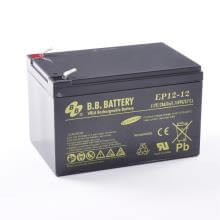 12V 12Ah Battery, Sealed Lead Acid battery (AGM), B.B. Battery EP12-12, 151x98x94 mm (LxWxH), Terminal T2 Faston 250 (6,3 mm)