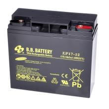 12V 17Ah Battery, Sealed Lead Acid battery (AGM), B.B. Battery EP17-12, 181x76x166 mm (LxWxH), Terminal I1 (Insert M5)