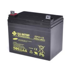 12V 33Ah Battery, Sealed Lead Acid battery (AGM), B.B. Battery EP33-12, 195x129x155 mm (LxWxH), Terminal B7 (Fitting M6 bolt and nut)
