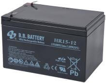 12V 15Ah Battery, Sealed Lead Acid battery (AGM), B.B. Battery HR15-12, 151x98x94 mm (LxWxH), Terminal T2 Faston 250 (6,3 mm)