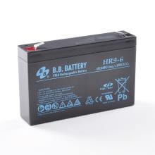 6V 9Ah Battery, Sealed Lead Acid battery (AGM), B.B. Battery HR9-6, 151x34x94 mm (LxWxH), Terminal T2 Faston 250 (6,3 mm)